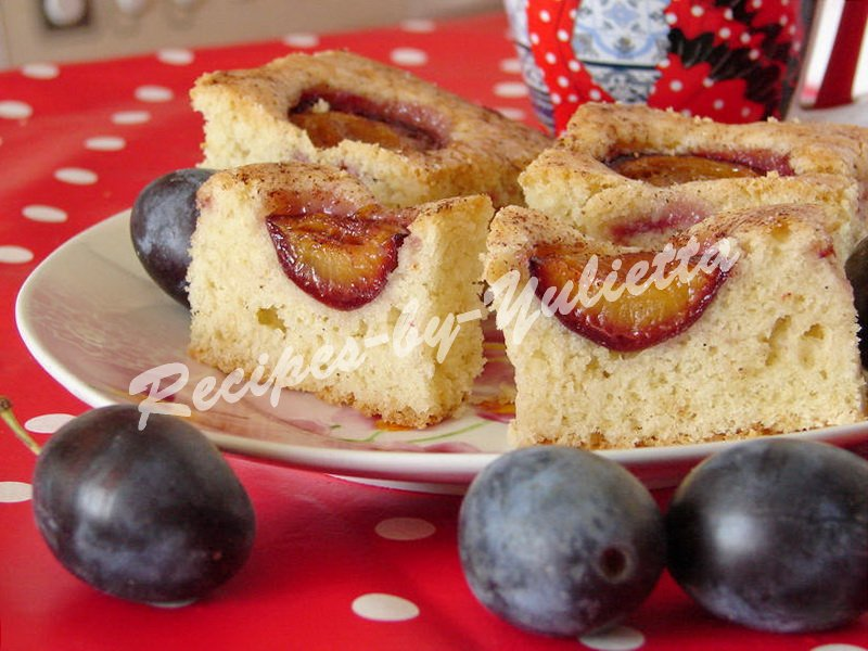 tasty cake with plums