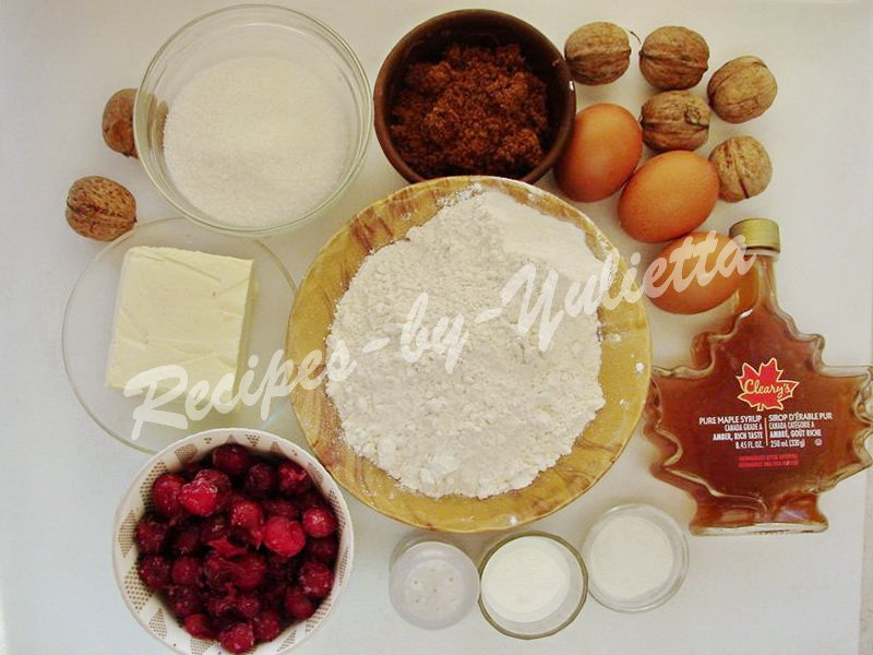 ingredients for maple cake with cherries