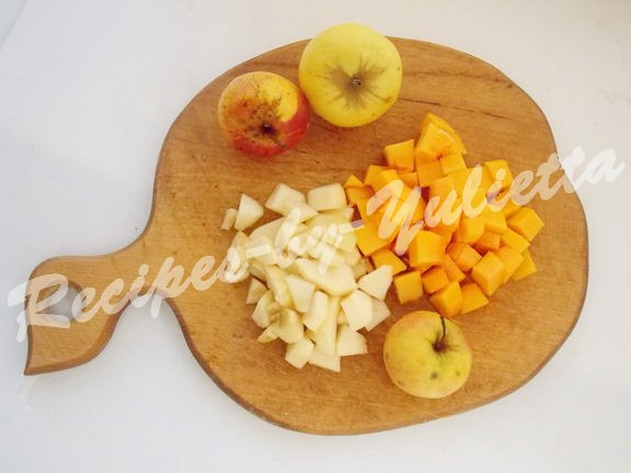 cube apples and pumpkin