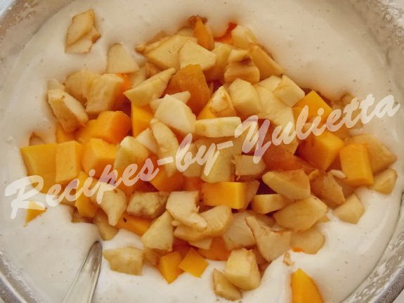 add apples and pumpkin to the dough