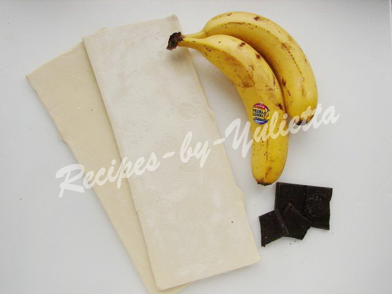 ingredients for puff pastries with banana and chocolate