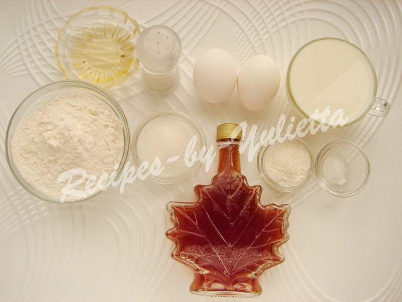 ingredients for maple syrup pancakes