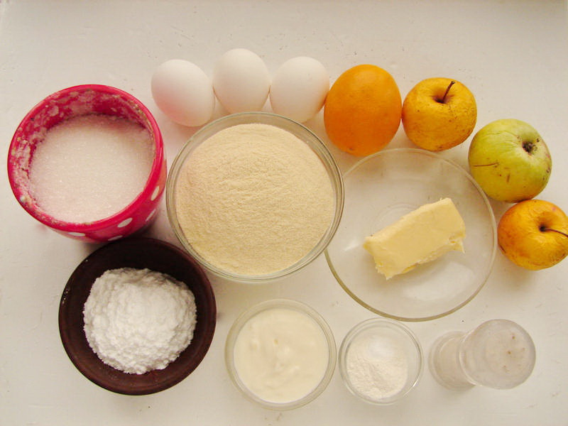 ingredients for apple lemon cake