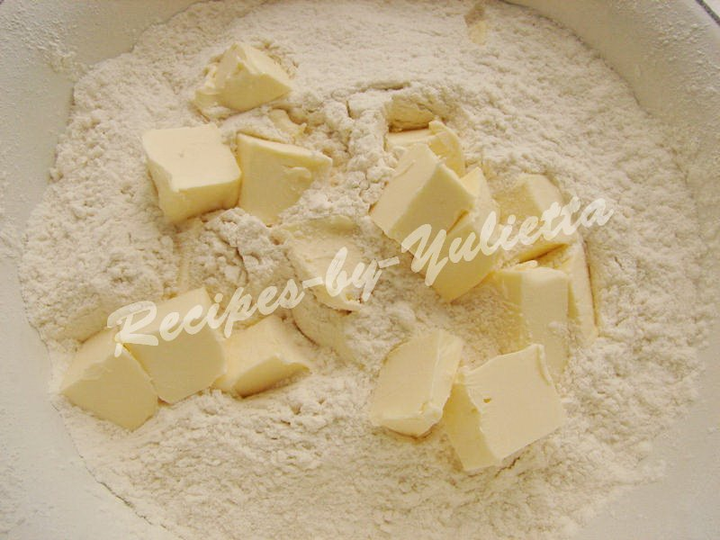 add cubed butter to the sifted flour